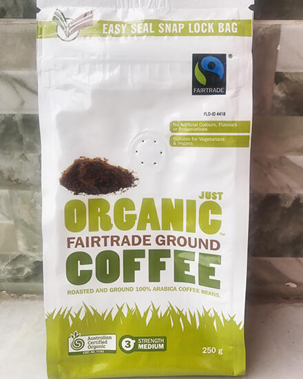 Ca phe huu co Uc Just Organic Coffee